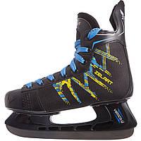 Коньки хоккейные PVC  (р-р 37-46, лезвие-сталь, черный-желтый-синий), фото 1