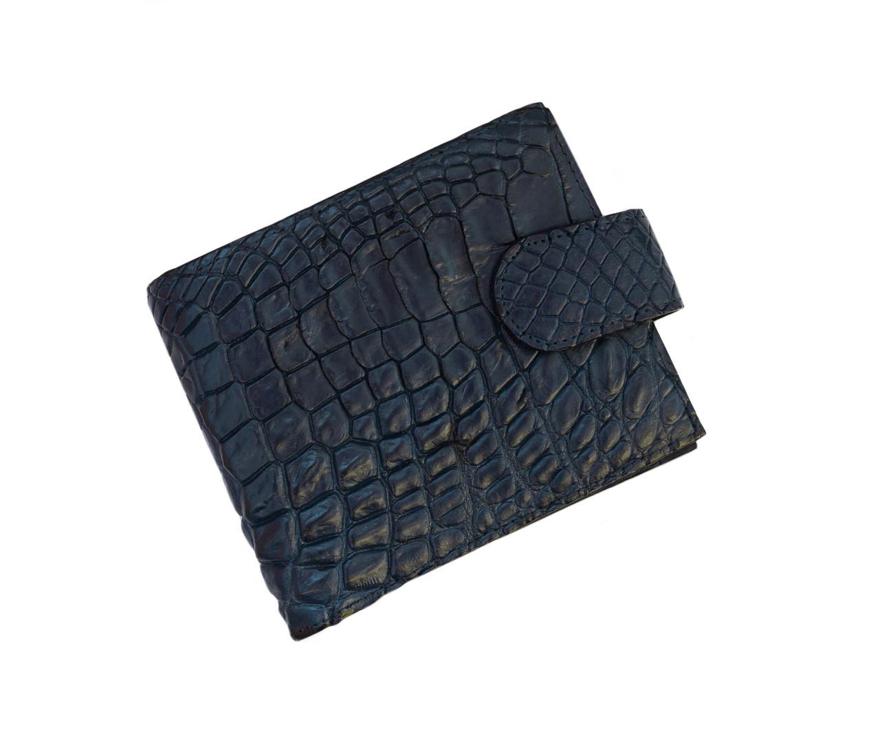 Кошелек из кожи крокодила Синий (cw 121)