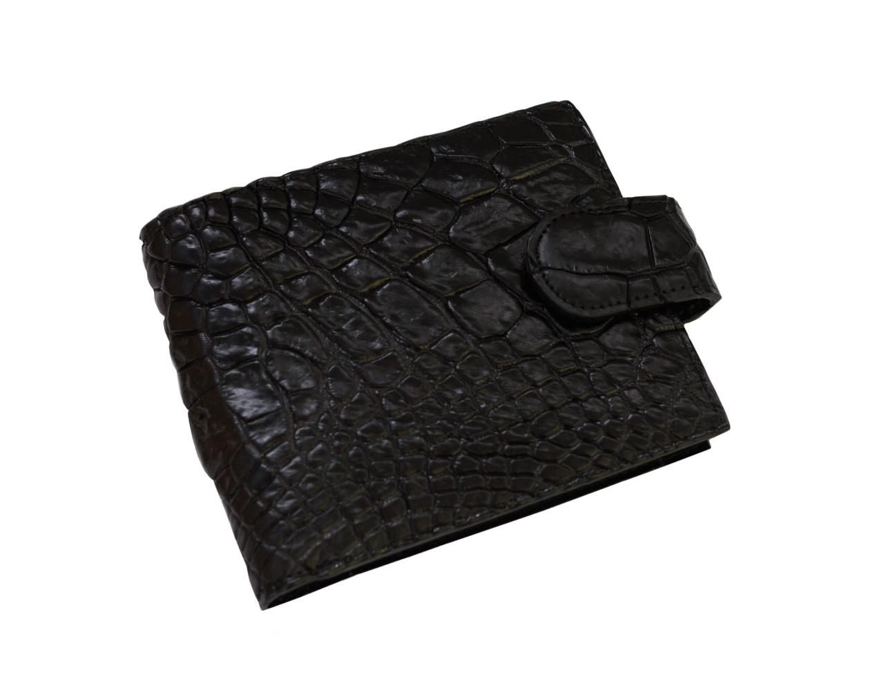 Кошелек из кожи крокодила Черный (cw 121_1)