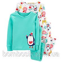 Піжама для дівчинки Carter's 1шт, 2Т (88-93см) - Біла з принтом