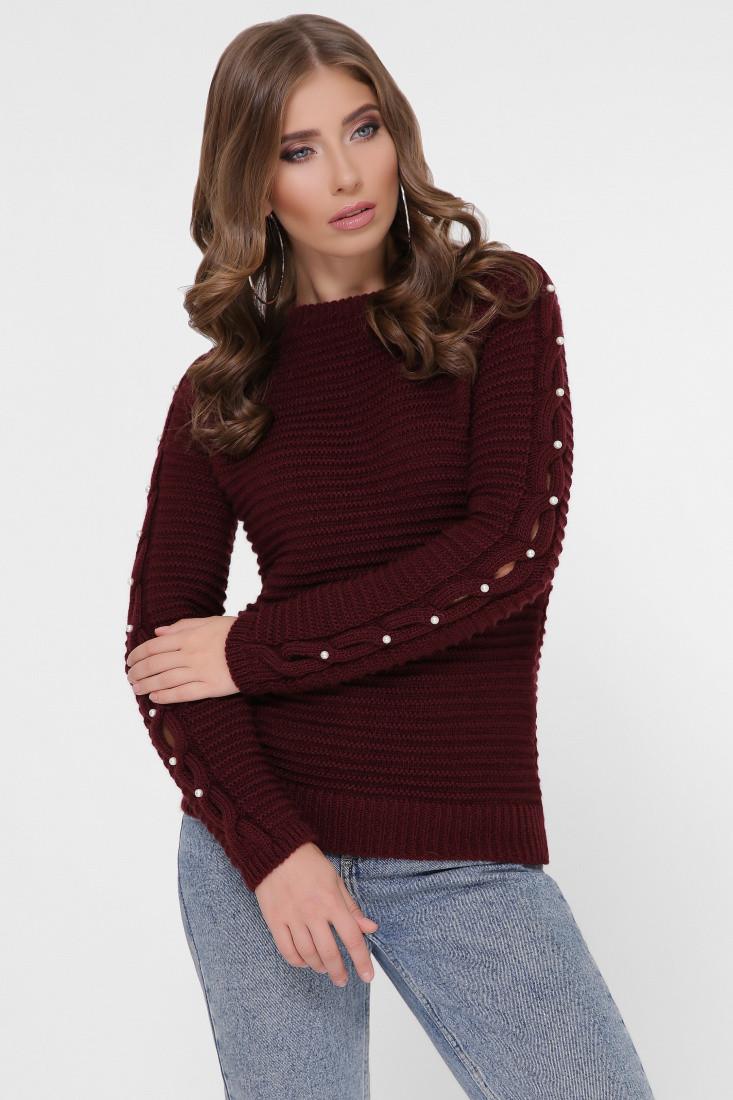 Полушерстяной женский свитер Лилу-4 с жемчугом