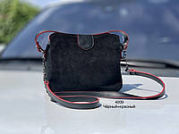 Маленька чорна замшева брендовий жіноча сумочка через плече невелика сумка крос-боді замша+кожзам, фото 1