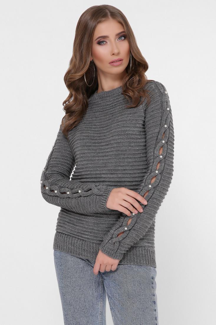 Полушерстяной женский свитер Лилу-5 с жемчугом