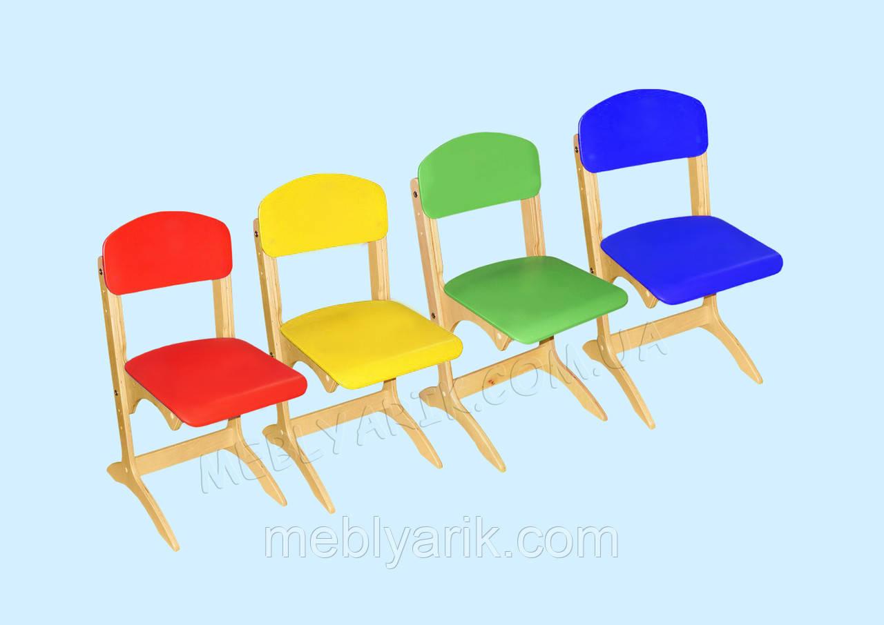 """Стул детский фанерный """"Антошка"""" с цветным сидением и спинкой регулируемый по высоте"""