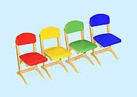 """Стул детский фанерный """"Антошка"""" с цветным сидением и спинкой регулируемый по высоте, фото 1"""