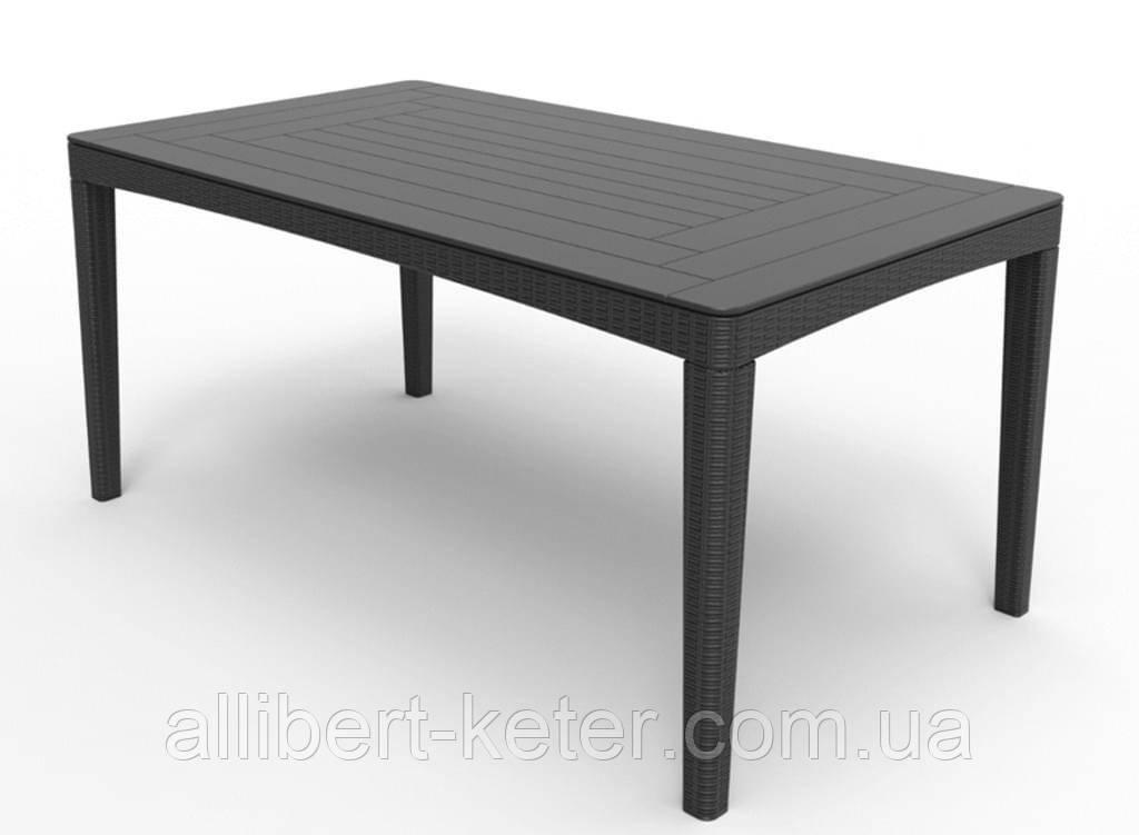 Стол садовый уличный Allibert Girona Table Round Waves Graphite ( графит ) из искусственного ротанга
