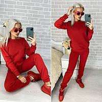 Женский спортивный костюм на флисе. Теплый женский костюм красного цвета. Женская одежда