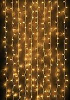 Гирлянда штора-водопад,прозрачный шнур, 3*2 м, 280 LED, золото, с переходником