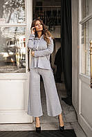Женский костюм из ангоры-шёлк, брюки-кюлоты и кофта с капюшоном (42-46), фото 1