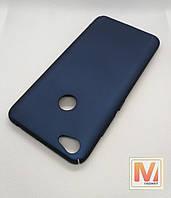 Чехол бампер Yomoдля Xiaomi Redmi 4X (синийматовый софттач поликарбонат) + подставка-кольцо