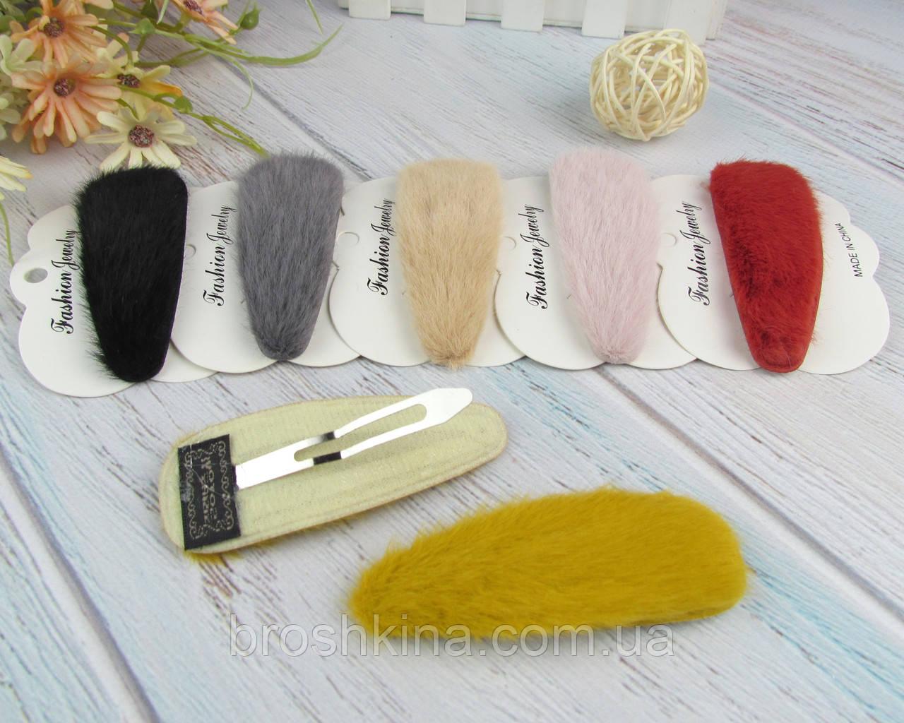 Шпильки для волосся тік-так 9*3 см метал з хутром 6 шт/уп.