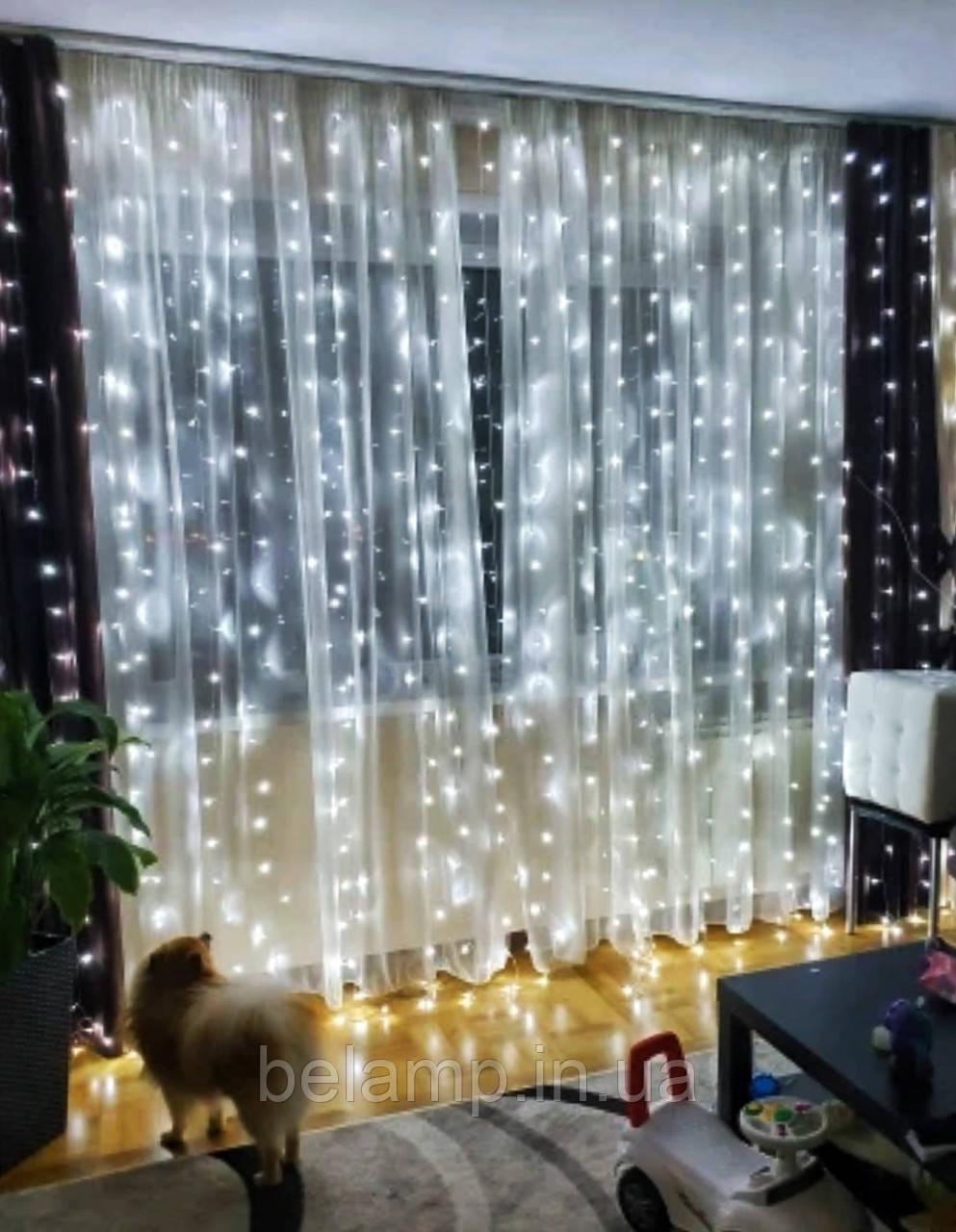 Новогодняя гирлянда штора на окно «Белоснежная»
