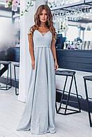 Нарядное длинное платье из люрекса + глитер, короткий рукав, глубокое декольтэ  (42-46)