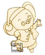 """Фанерная заготовка для творчества Атлас """"Мышка №1 в шапке с колокольчиком"""" 57*70 мм.+магнит B-0383"""