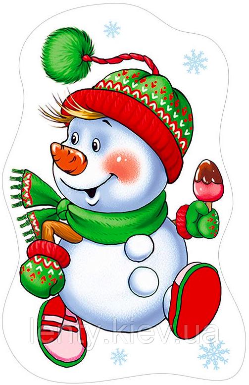 """Вырубка большая Новогодняя  """"Снеговик с мороженом"""""""