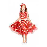 Платье в горошек Стиляга 7,8 лет. Карнавальный костюм для девочки, стиляжное платье 344