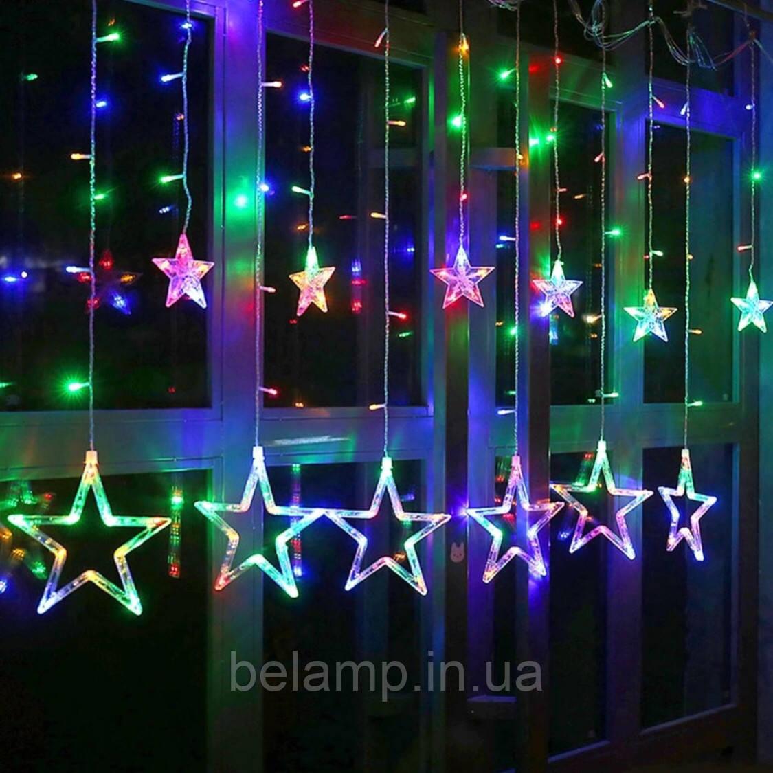 """Новогодняя гирлянда штора на окно  «Разноцветный звездопад"""""""