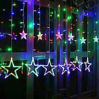 """Новогодняя гирлянда штора на окно  «Разноцветный звездопад"""", фото 1"""