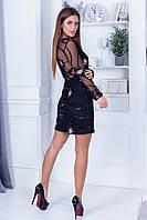 Вечернее платье облегчающего силуэта из сетки+пайетка с длинным прозрачным рукавом и прозрачной спиной (42-46), фото 1