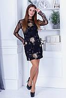 Вечернее платье облегчающего силуэта из сетки+пайетка с длинным прозрачным рукавом и прозрачной спиной (42-46) Черный/золото