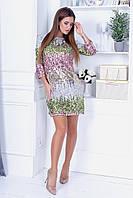 Чарівлива ніжне плаття з трикотажу з пайеткой, рукав 3/4, глибокий виріз на спині із зав'язками (42-46), фото 1