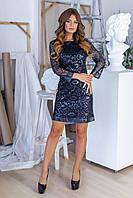 Стильное платье из аппликации кожи на сетке + трикотаж, рукав три четверти, потайная молния (42-46), фото 1