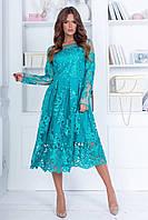 Нарядное платье из трикотажа и кружевной ткани, длинные кружевные рукава, ажурная юбка (42-46), фото 1