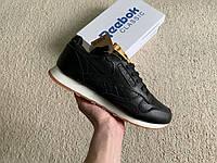 Мужские зимние кожаные кроссовки Reebok Classic Black/White черные с белым на меху