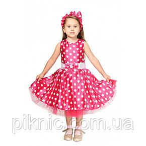 Платье в горошек Стиляга 5,6,7,8,9 лет. Новогодний костюм для девочки, стиляжное платье. Розовый 344, фото 2