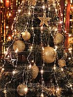 """Новогодняя гирлянда на елку конский хвост «Прозрачные бусины"""""""