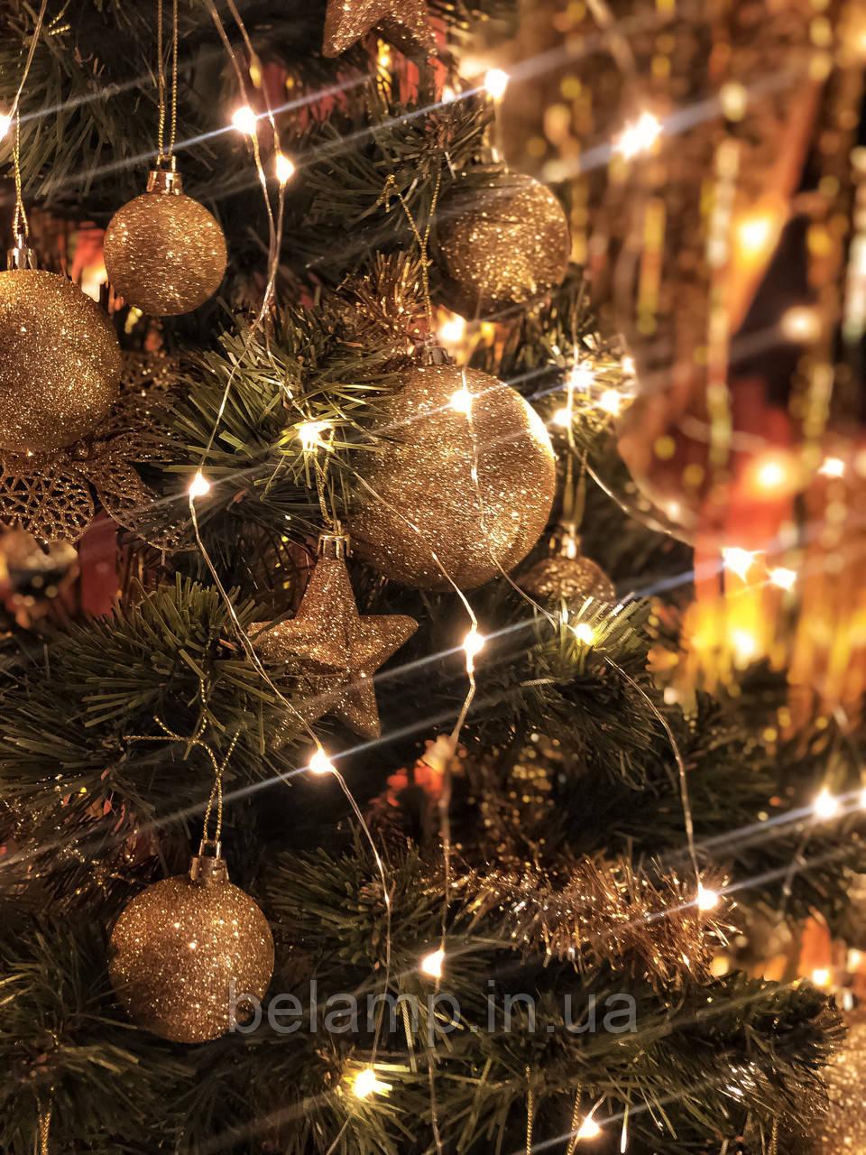 Новогодняя гирлянда на елку конский хвост «Тёплые огни»