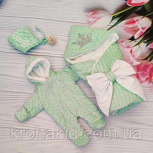 Зимний комплект на выписку для новорожденного (конверт, шапочка, комбинезон): конверт-одеяло, фото 2