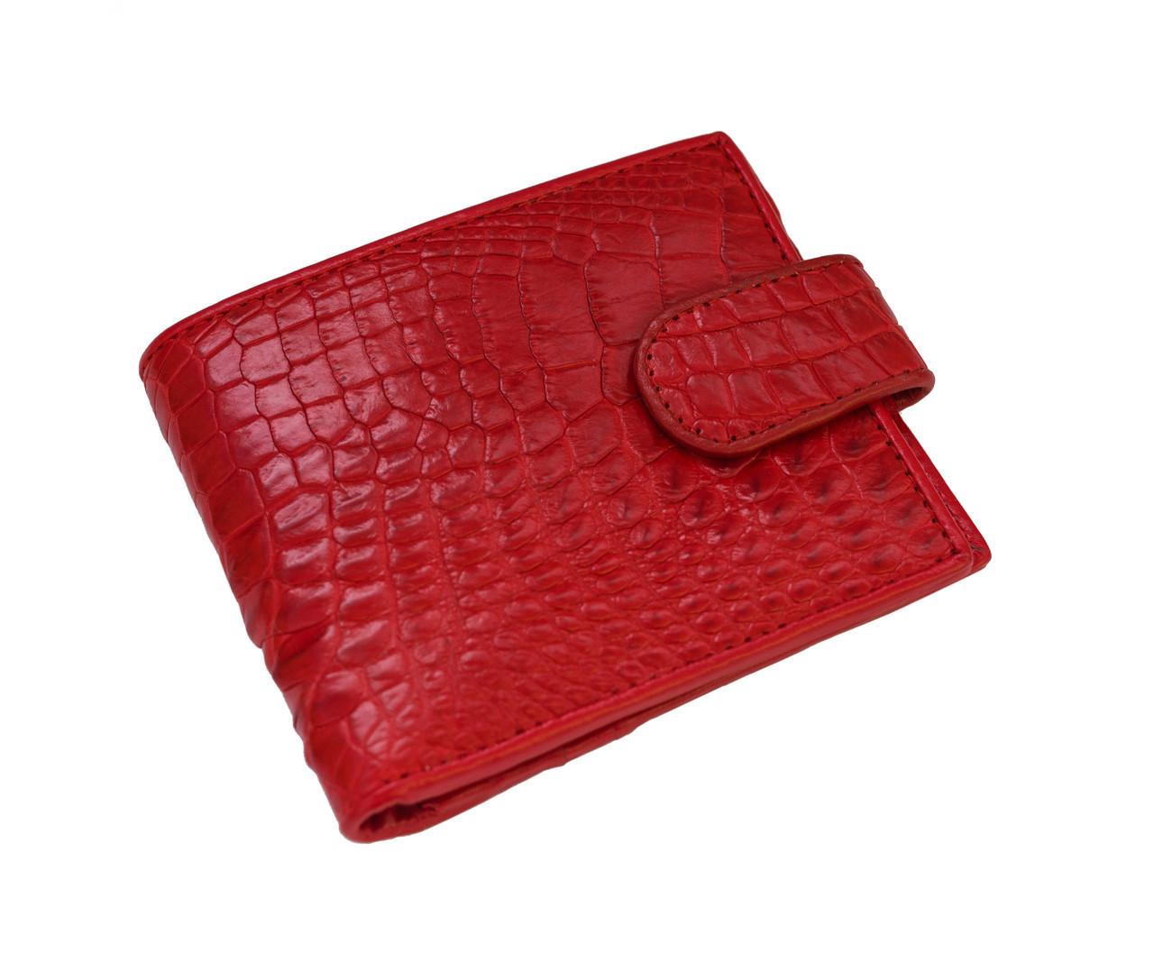 Кошелек из кожи крокодила Красный (cw 34_6)