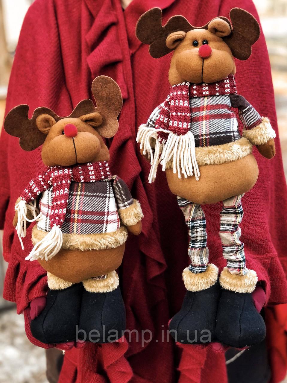Новогоднее украшение  фигурка под ёлку в виде оленя с выдвижными ногами