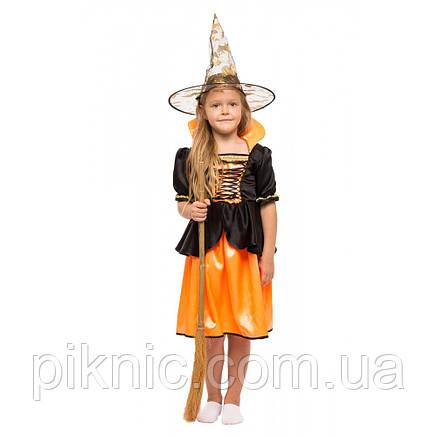 Костюм Ведьмочка 5,6,7,8 лет Детский карнавальный новогодний костюм Ведьма для девочки 344, фото 2