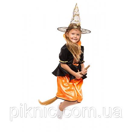 Карнавальный костюм Баба Яга Ведьмочка для девочки 4,5,6,7,8 лет. Детский новогодний маскарадный костюм, фото 2