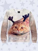 Свитшот детский Рыжий новогодний кот