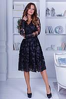 Нарядное стильное платье из ажурного кружева+пайетка, V-образный вырез, длинные ажурные рукава (42-46)