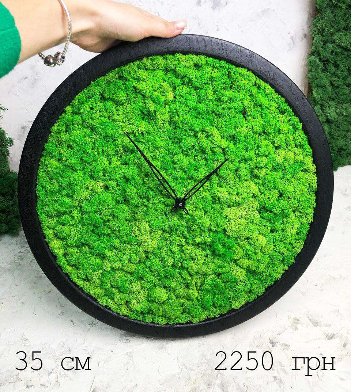 Часы настенные из мхом диаметр 35 см