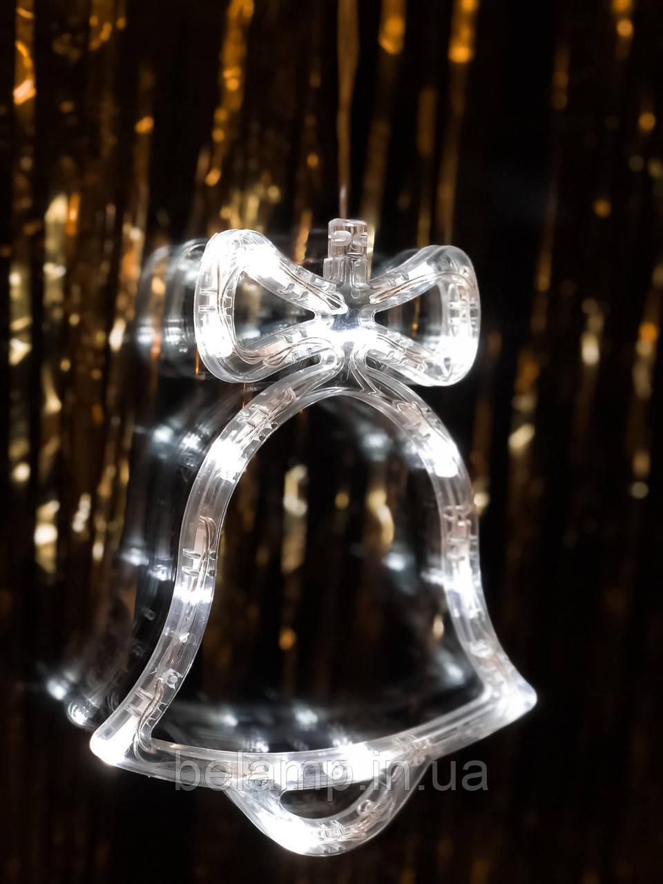 """Новогоднее светящееся  украшение на окно """"Белый колокольчик"""". цена за 1 колокольчик"""