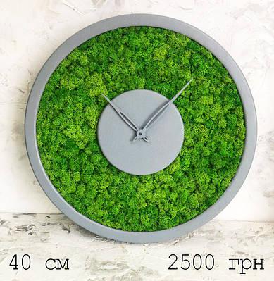 Часы настенные из мхом диаметр 40 см