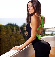 Размер 44-46. Черный женский комбинезон для спорта, спортивная одежда для фитнеса и йоги