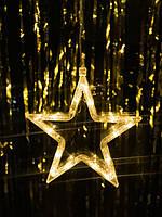 Новогодние украшение в виде звезды: белая теплая. Цена за 1 звезду, фото 1