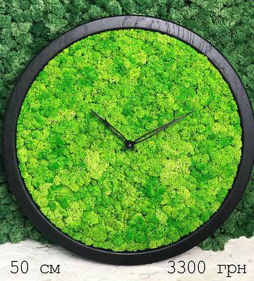 Часы настенные из мхом диаметр 50 см