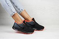 Женские кроссовки черные с серым и оржевым Nike Air Max