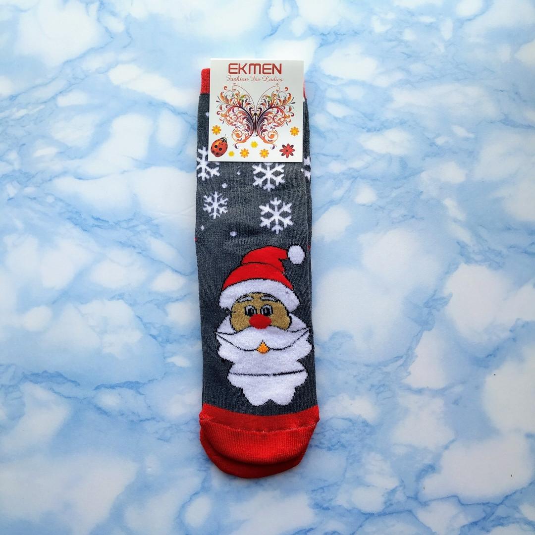 Шкарпетки жіночі новорічні махра темно сірі розмір 36-41