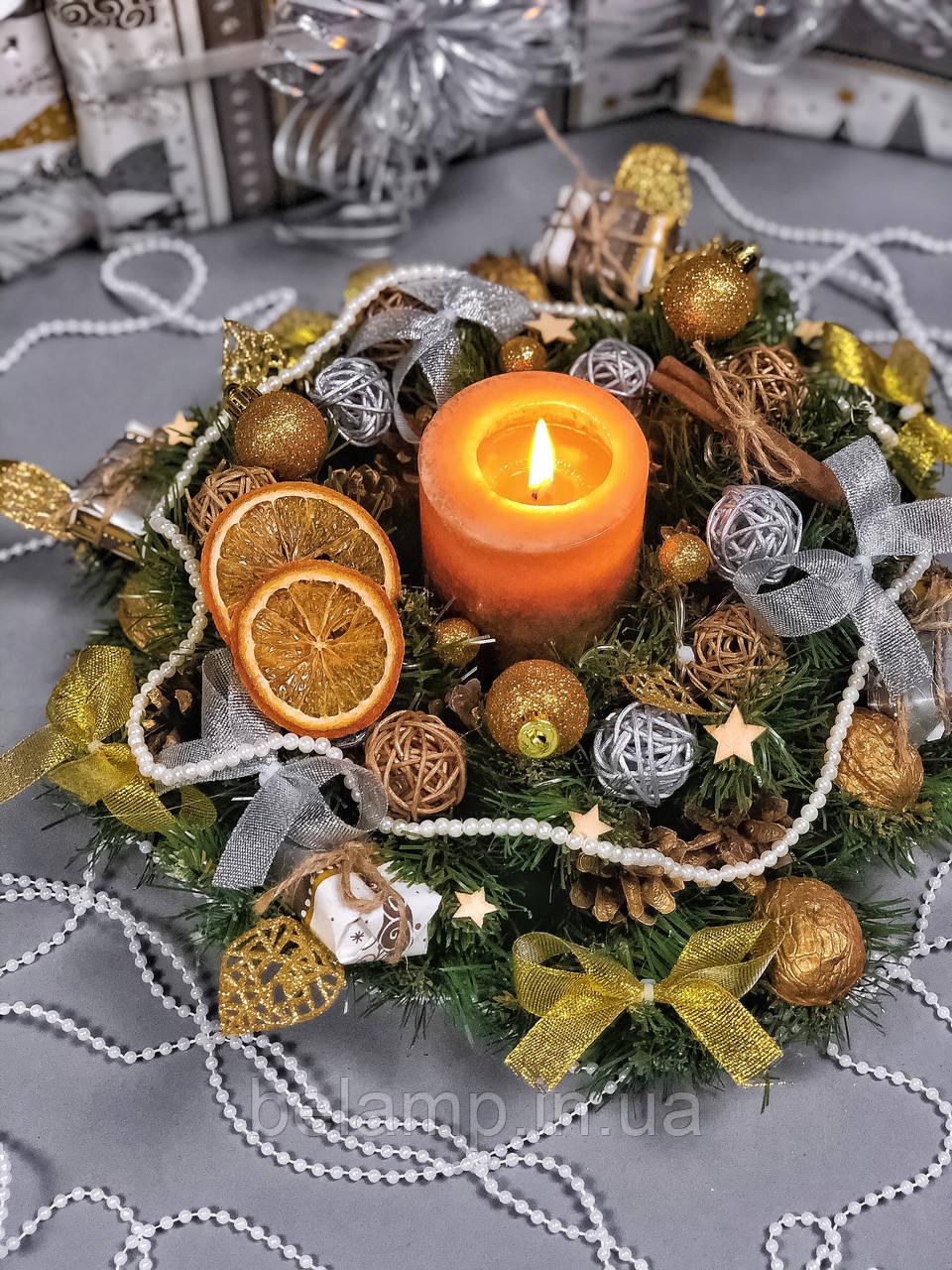 Рождественский венок  с гирляндой от батареек «Золотисто-серебряные бантики»