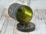 Железная банка для сыпучих 100г Райські птахи, кругла, фото 2