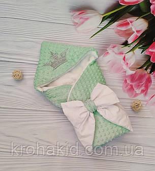 """Зимний плюшевый конверт-одеяло на выписку """"Минки"""", конверт на выписку со съемным уголком, фото 2"""