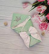 """Зимовий плюшевий конверт-ковдру на виписку """"Минки"""", конверт на виписку зі знімним куточком"""